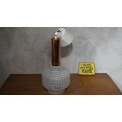 Mooi vintage hanglampje - glas met koper