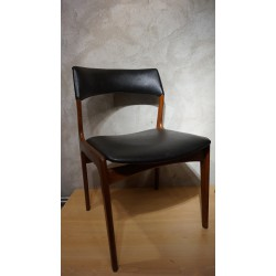 Mooi setje Mahjongg eetkamer stoelen - hout - skai - zwart
