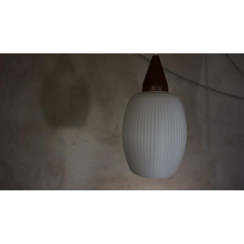 Vintage design hanglamp - melkglas en hout