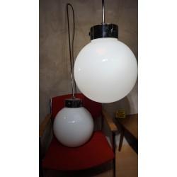 Prachtige vintage XXL Winkel lampen - melkglazen bol