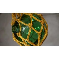 Mooi origineel vissers kruikje in touw - groen glas