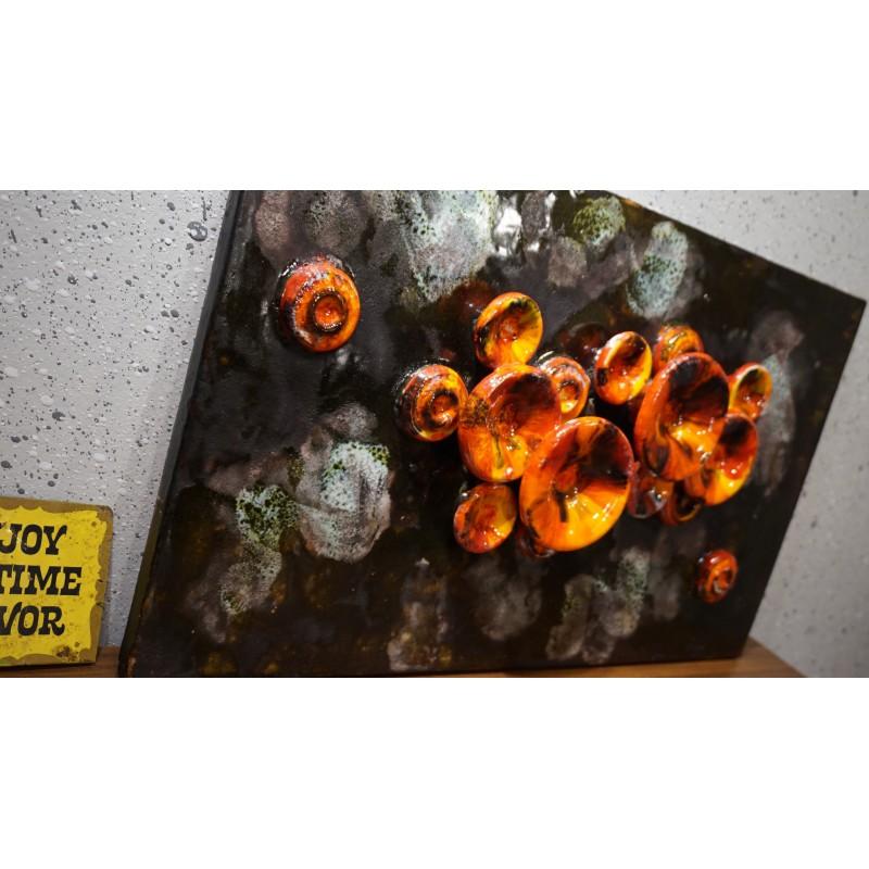 Hele mooie vintage Ruscha Fat Lava wandtegel XXL - 3D
