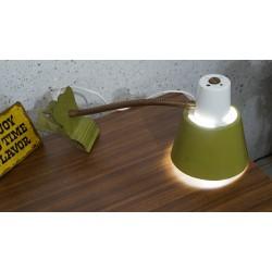 Vintage hala Zeist klemlampje - groen-wit