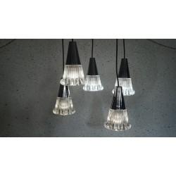 Zware vintage design hanglamp 5 dikglazen kelkjes
