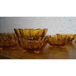 Vintage dik glazen schaal met kopjes - oranje