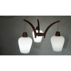 Mooie vintage hanglamp - melkglas - hout