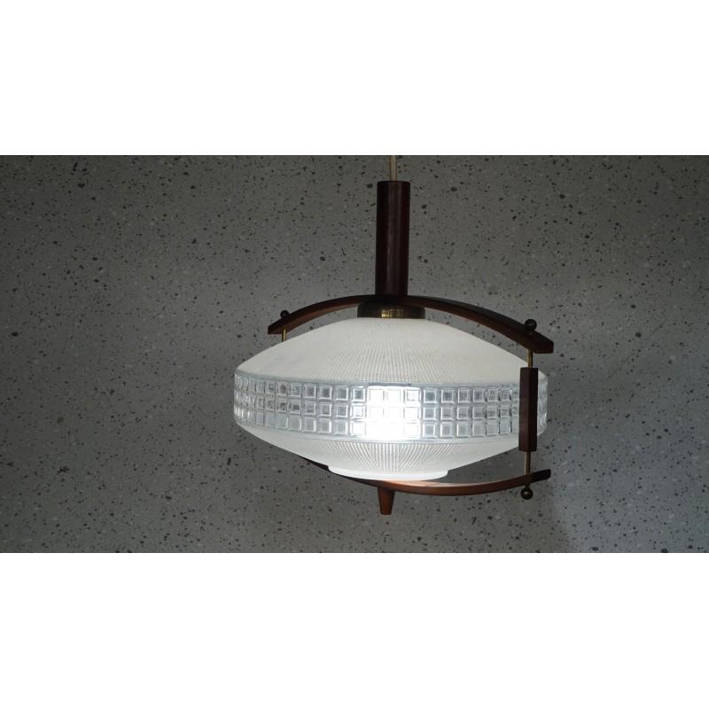Prachtige vintage hanglamp - hout - glas