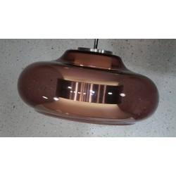 Prachtige vintage design hanglamp - metaal - glazen kap