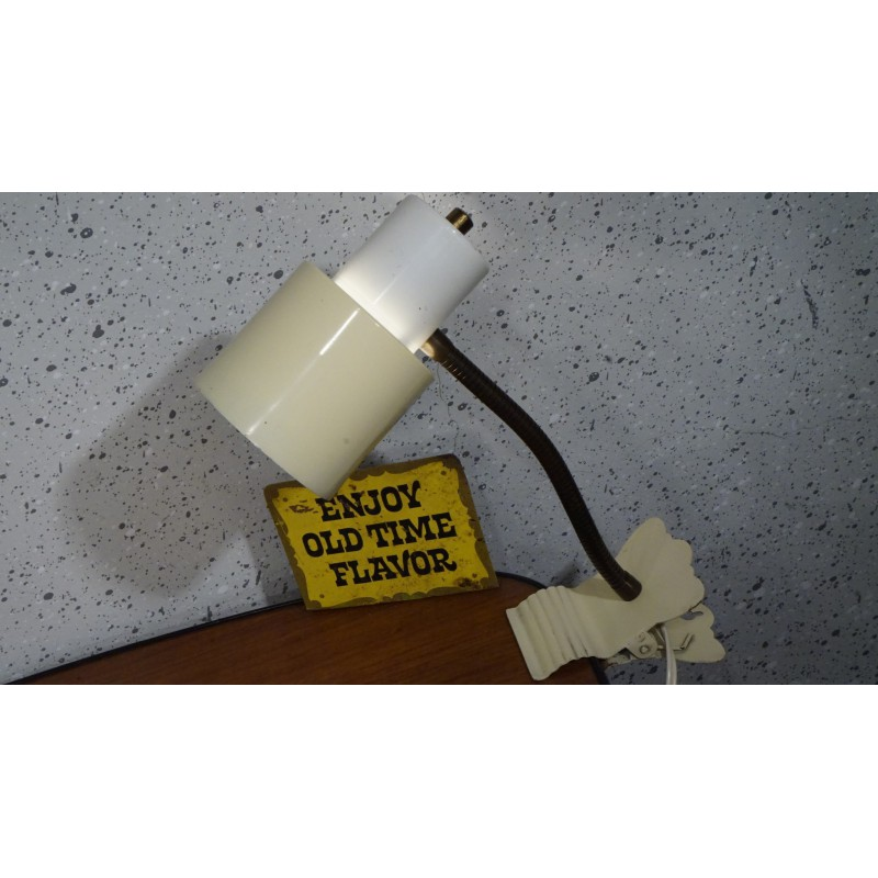 Vintage hala Zeist klemlampje - geel-wit