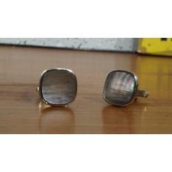 Vintage manchetknopen met grijs parelmoer