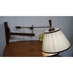 Mooie vintage wandlamp - hout, metaal, stof