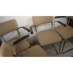 Set van 4 vintage jaren 80 chromen buisframe stoelen