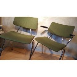 Setje (2) vintage buizenframe stoelen - groen - stof