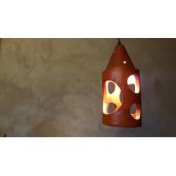 Set van 2 vintage aardewerk hanglampen - oranje