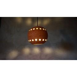 Mooie oranje vintage aardewerk hanglamp - bol