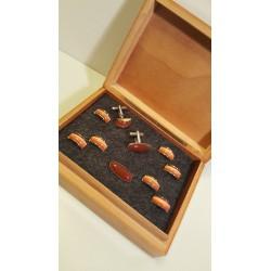 Groom & Best men – Prachtig Setje Rode Vintage Manchetknopen